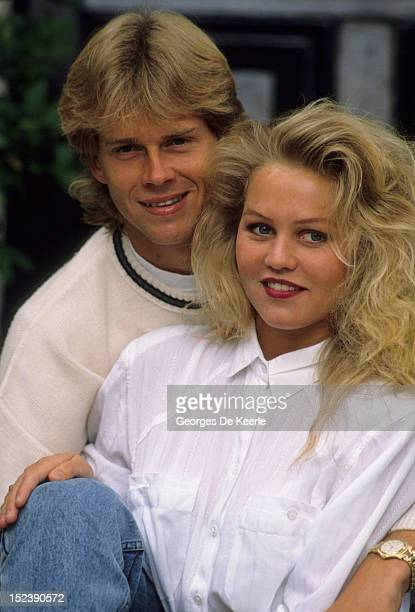 Swedish tennis player Stefan Edberg with his girlfriend Annette Olsen the day after his Wimbledon victory in London on July 5 1988