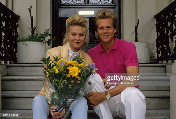 Swedish tennis player Stefan Edberg with his girlfriend Annette Olsen in London on July 1990