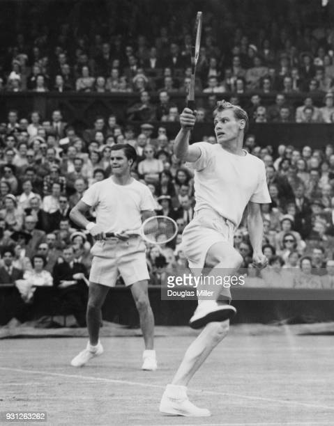 Swedish tennis players Lennart Bergelin and Sven Davidson in a doubles match against Budge Patty and Ham Richardson during the Wimbledon...