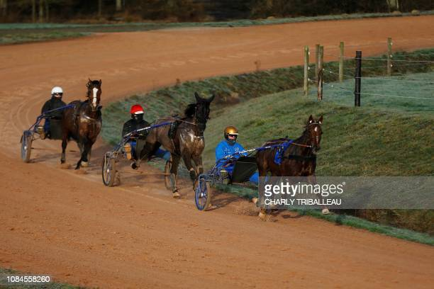 Swedish trainer and driver Bjorn Goop trains a horse on January 18 2019 in Mortrée northwestern France