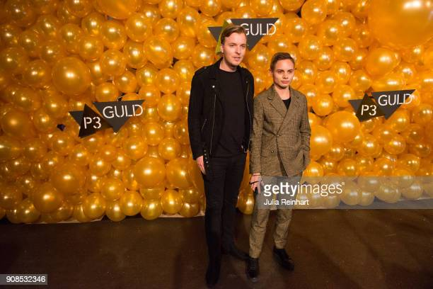 Swedish TV personality Daniel Redgert and a friend arrive at the P3 Guld Gala Swedish Radio's celebration of the best in Swedish Music on January 20...