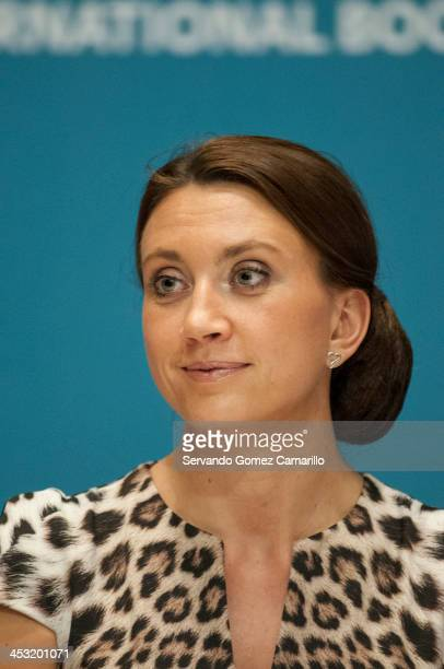 Swedish writer Camila Lackberg answers questions during a conference as part of the Guadalajara International Book Fair on December 02 2013 in...