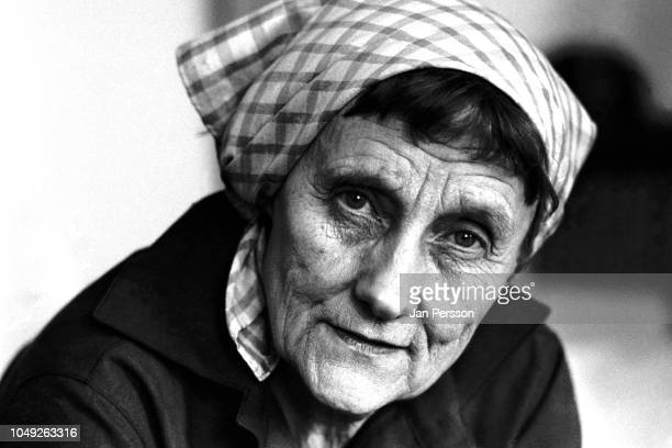 Swedish writer of children books Astrid Lindgren at home in Stockholm Sweden 1976