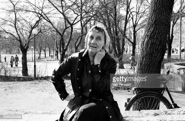 Swedish writer of children books Astrid Lindgren outside her home in Stockholm Sweden 1976