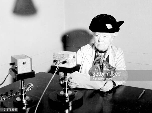 Swedish writer, Selma Lagerlof , reading on the radio, 1930s. Artist Unknown.