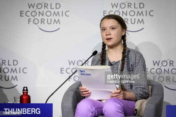 Swedish youth climate activist Greta Thunberg delivers a speech during the closing day of the World Economic Forum annual meeting on January 25 2019...
