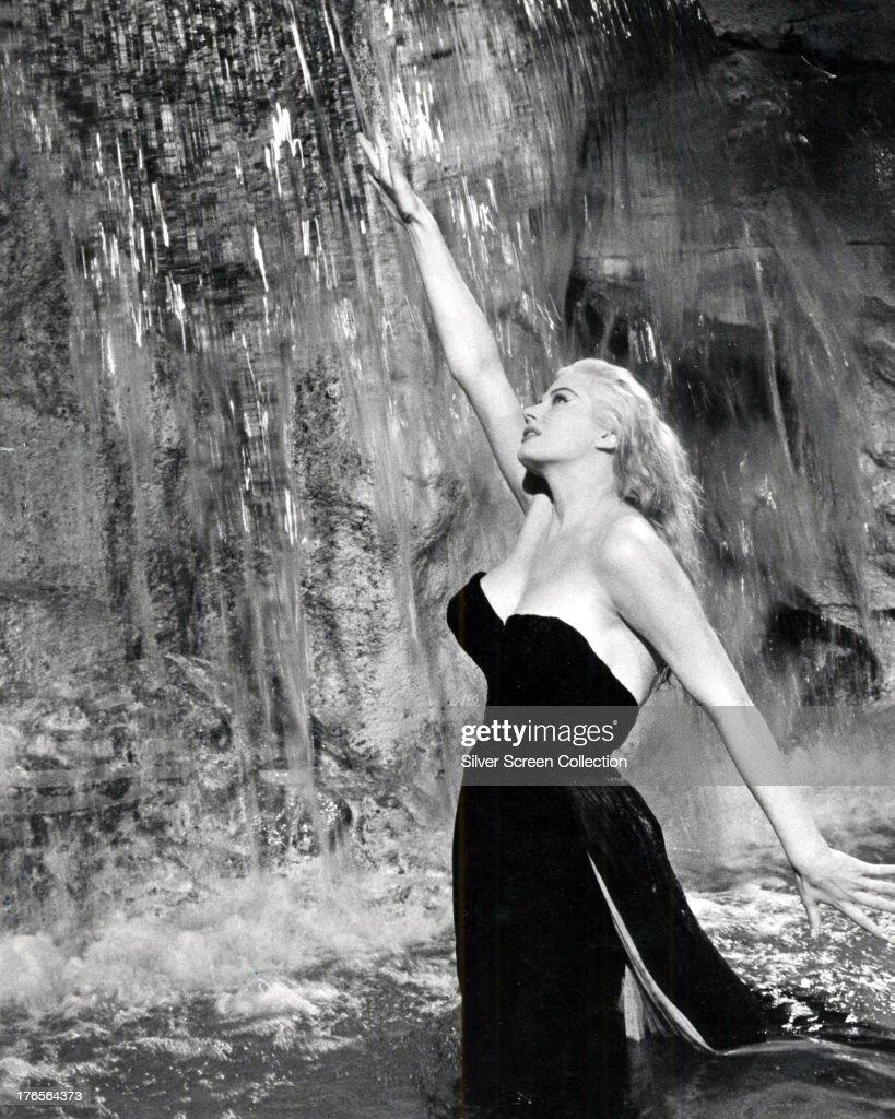 Swedish-American actress Anita Ekberg as Sylvia in the fountain scene from 'La Dolce Vita', directed by Federico Fellini, 1960.