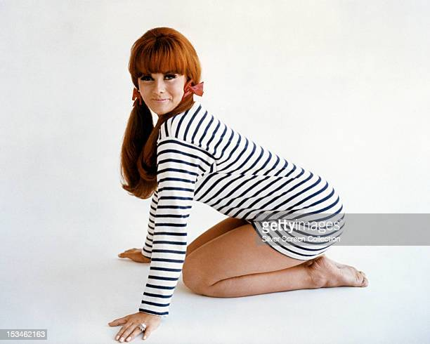 SwedishAmerican actress AnnMargret kneeling in a striped top circa 1968