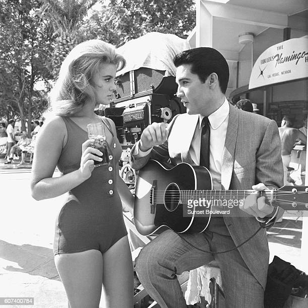 SwedishAmerican actress singer and dancer AnnMargret and American singer actor and icon Elvis Presley on the set of Viva Las Vegas directed and...