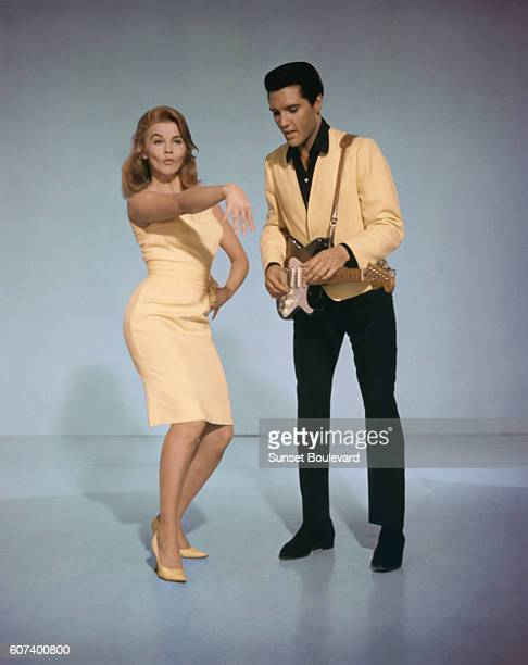 SwedishAmerican actress singer and dancer AnnMargret and American singer actor and icon Elvis Presley promoting the movie Viva Las Vegas directed and...