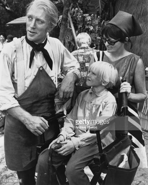 SwedishFrench actor Max von Sydow with his son Henrik and wife Christina Olin on the set of epic drama film 'Hawaii' US 1966