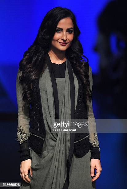 Swedish/Greek Bollywood actress Elli Avram poses as she attends the fourth day of the Lakme Fashion Weeksummer/resort 2016 in Mumbai on April 2 2016...
