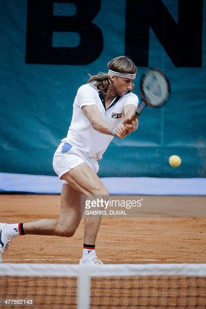 Swedish's Bjorn Borg returns to Italian's Corado Barazzutti during their French tennis Open quarterfinal match at the Rolland Garros stadium in Paris...