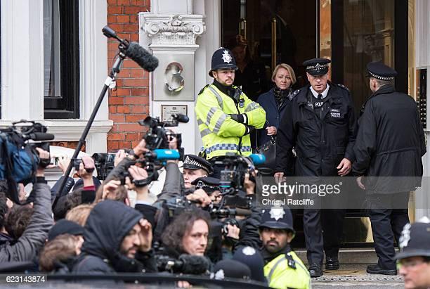 Sweedish chief prosecutor Ingrid Isgren leaves the Embassy of Ecuador after questioning Wikileaks founder Julian Assange on November 14 2016 in...