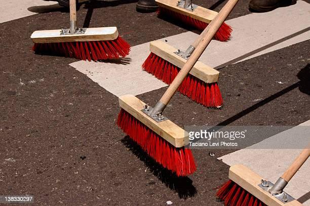 Sweep broom on street