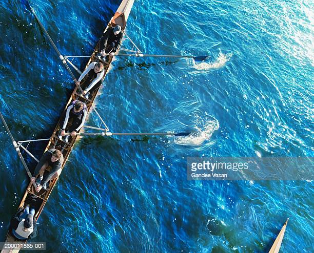 sweep rowing crew, overhead view - rowing stock pictures, royalty-free photos & images