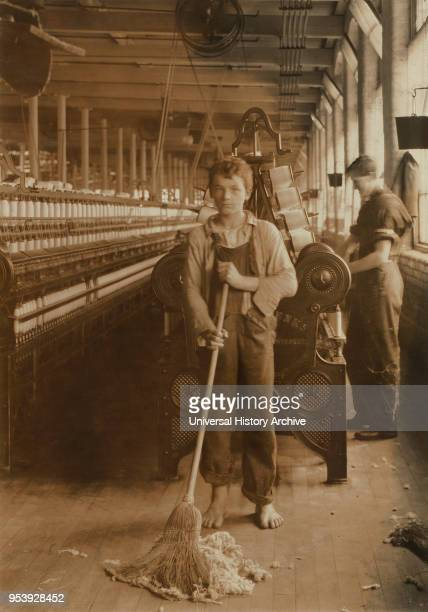 Sweeper 15 years old FullLength Portrait Spinning and Spooling Room Berkshire Cotton Mills Adams Massachusetts USA Lewis Hine for National Child...