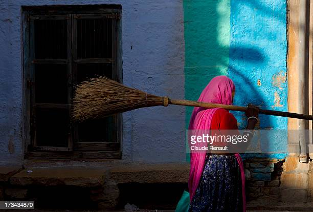 Sweeper in a street of Jaisalmer. Rajasthan