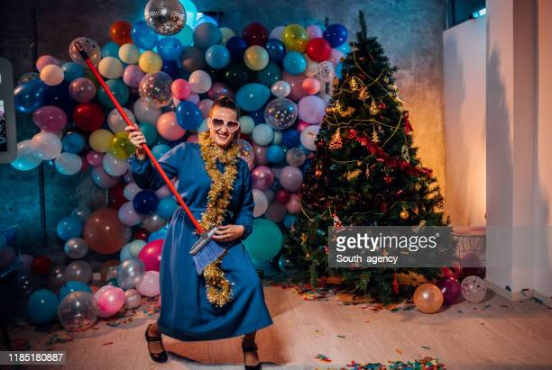 sweeping the house after new year party - cleaning after party stock pictures, royalty-free photos & images
