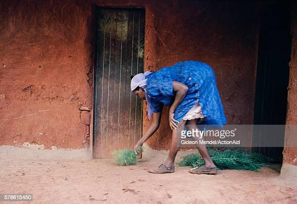 Sweeping the yard