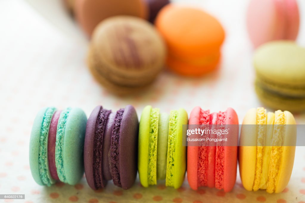 Sweet and colourful french macaroons or macaron background : Stock Photo