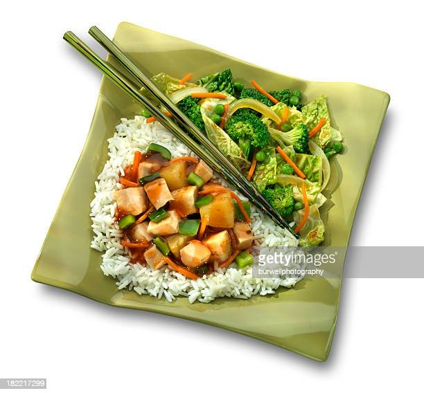 Sweet and Sour Chicken dinner, white background