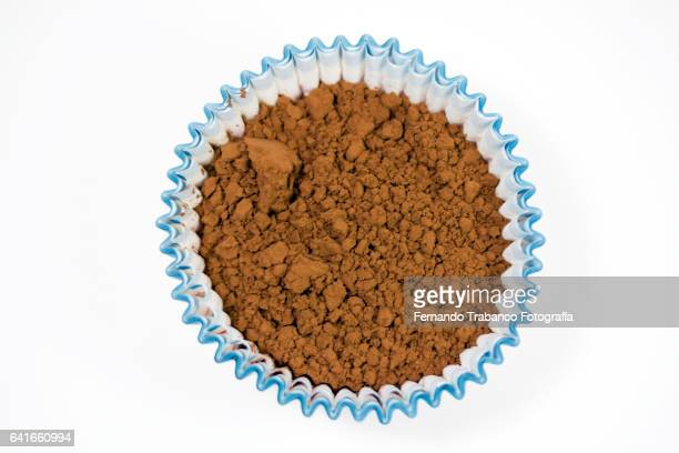 Sweet and tasty cocoa powder (elevated view)