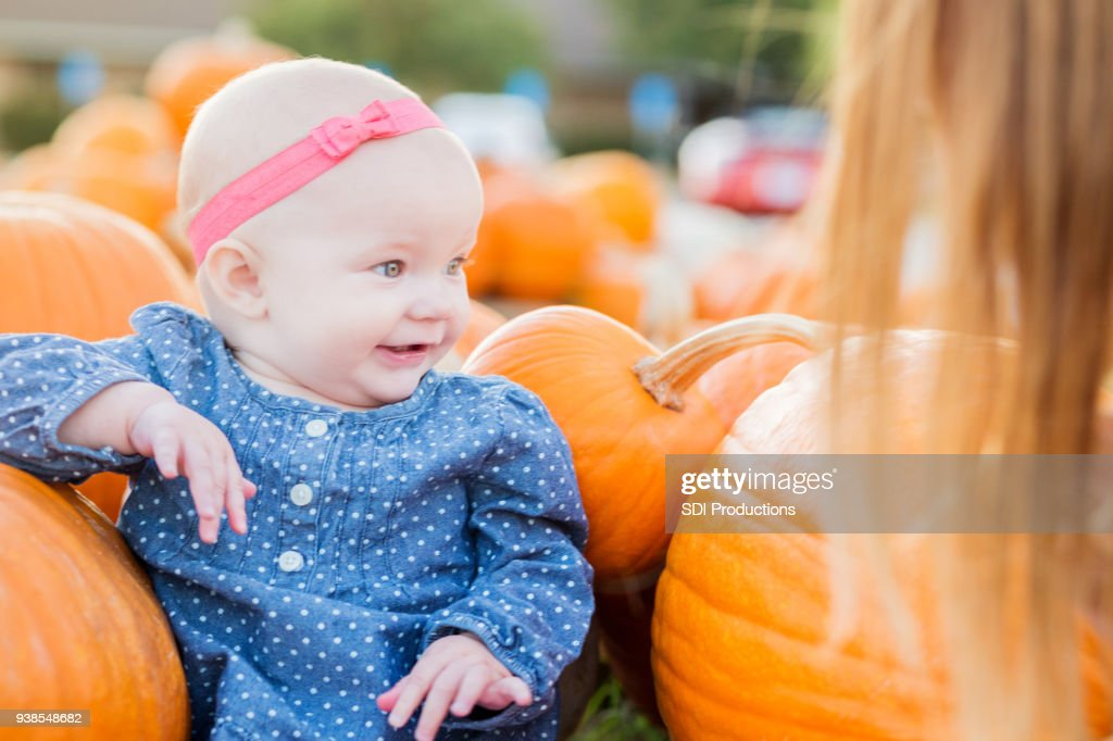 Sweet baby girl in pumpkin patch : Stock Photo