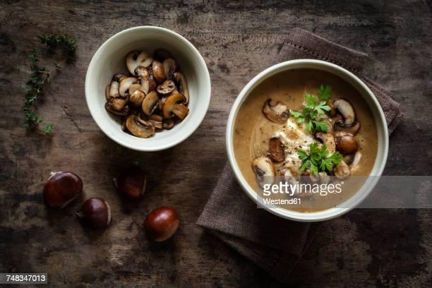 sweet chestnut mushroom soup - châtaigne photos et images de collection
