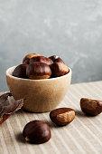 Sweet chestnut,Ripe chestnuts,Raw chestnut