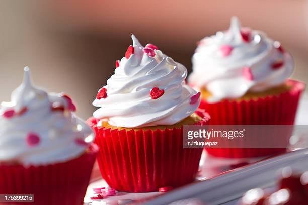 sweet delicate cupcakes - candy heart stock pictures, royalty-free photos & images
