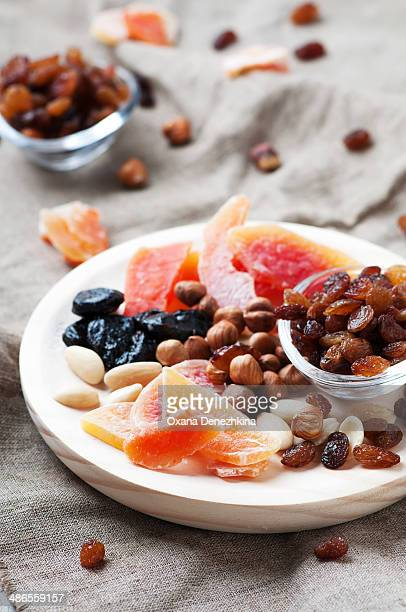 Sweet dried fruits and nuts on the table