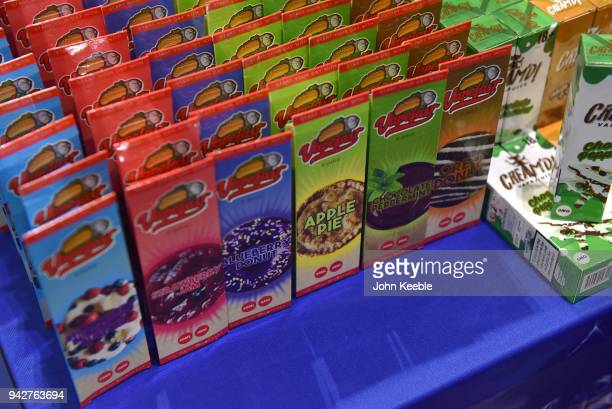 Sweet flavoured eliquids on display at the Vape Jam UK 4 at ExCel on April 6 2018 in London England Vape Jam UK the premier Electronic Cigarette and...