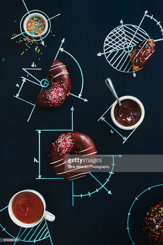 Sweet geometry of donuts : Stock Photo