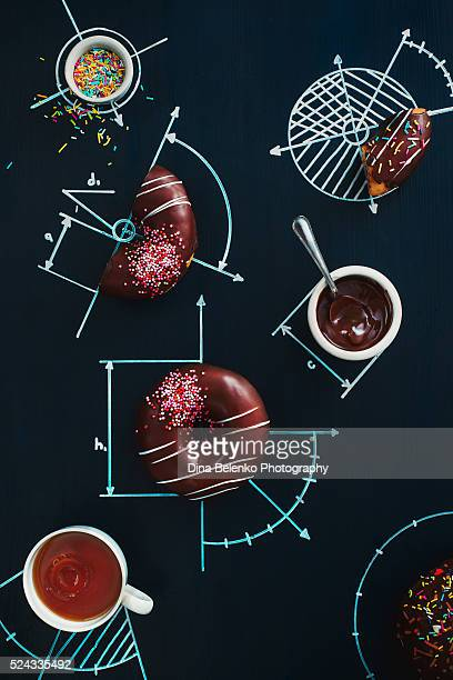 sweet geometry of donuts - drawing activity stock pictures, royalty-free photos & images