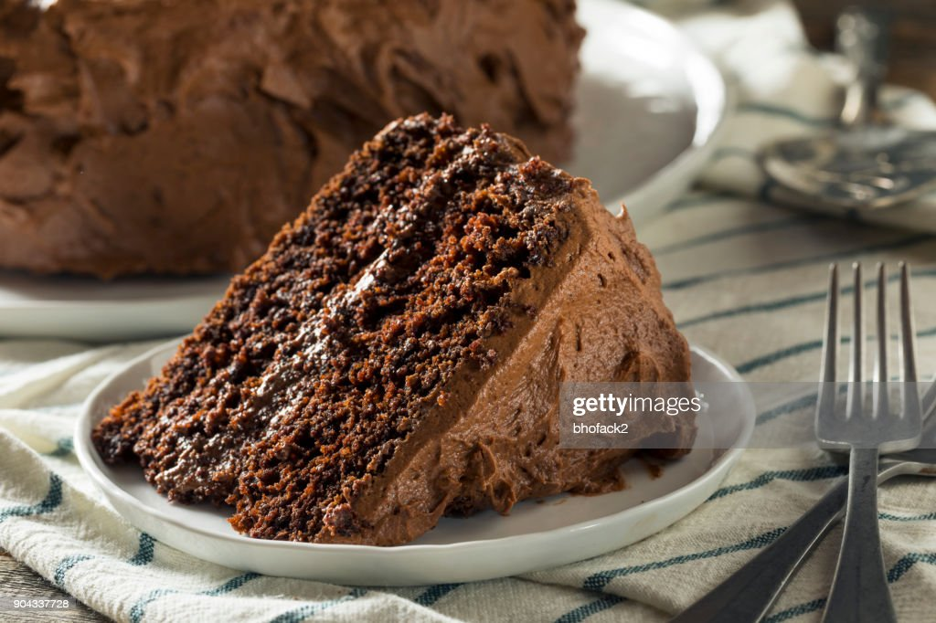 Sweet Homemade Dark Chocolate Layer Cake : Stock Photo