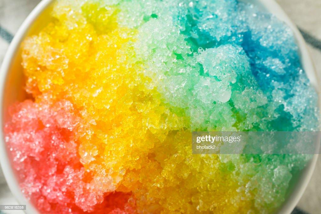 Sweet Homemade Shaved Rainbow Hawaiian Ice : Stock Photo