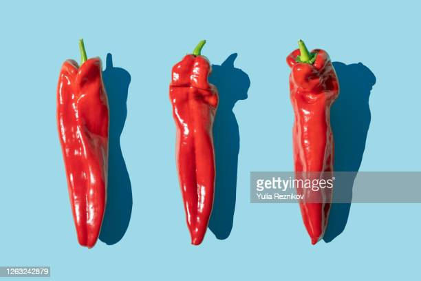 sweet long red marconi peppers on the blue background - still life stock pictures, royalty-free photos & images