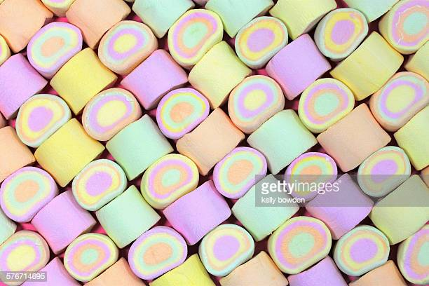 Sweet marshmallows in a pattern