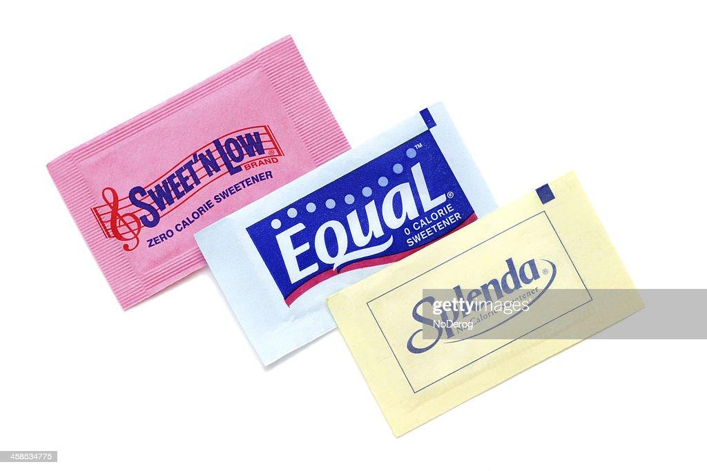 Sweet N Low, Equal, and Splenda artificial sweeteners : Stock Photo