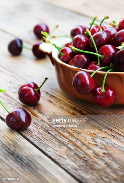 Sweet organic cherries in a bowl