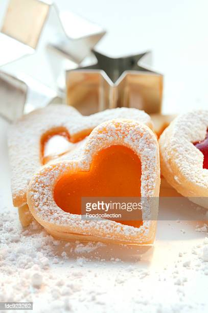 Sweet pastry hearts with apricot jam