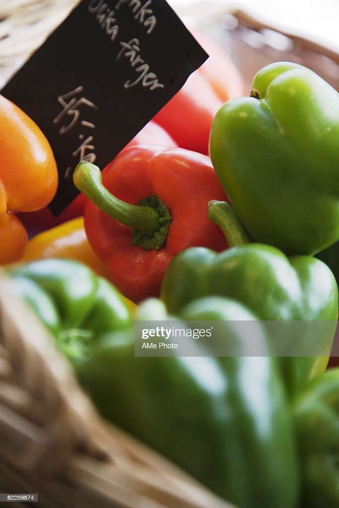 Sweet pepper in a basket close-up. : Stock Photo