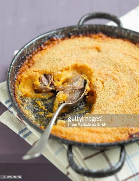 sweet potato and duck parmentier - canard photos et images de collection