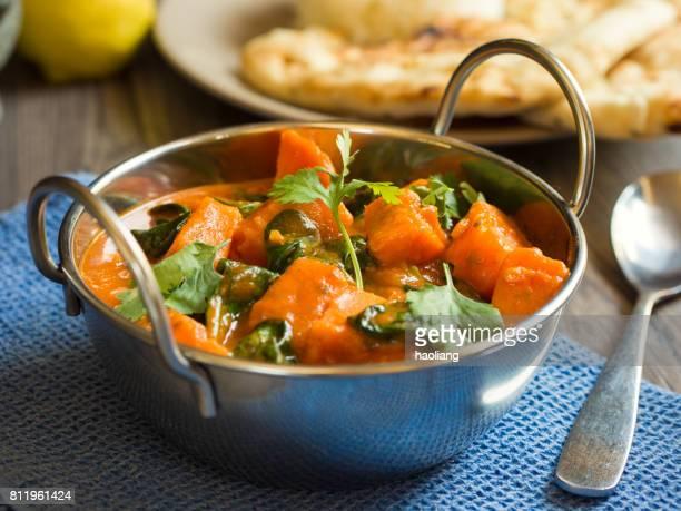 Süßkartoffel und Spinat Tikka masala