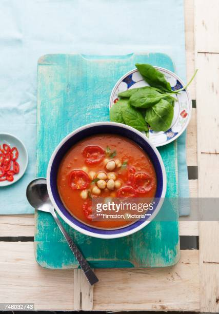 sweet potato and tomato soup with chickpeas - tomato soup stock photos and pictures