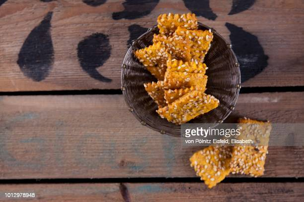 Sweet potato crackers with sesame seeds