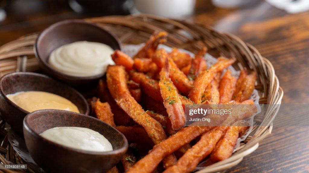 Sweet Potato French Fries, Condiments : Stock Photo