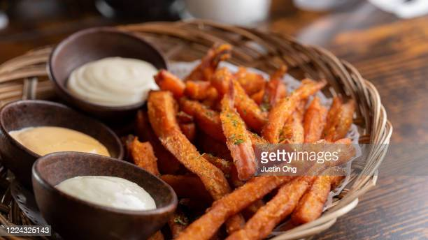 sweet potato french fries, condiments - sweet potato stock pictures, royalty-free photos & images
