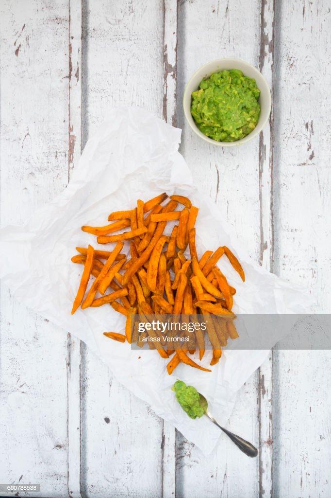 Sweet Potato French Fries with Avocado Sauce : Stock Photo